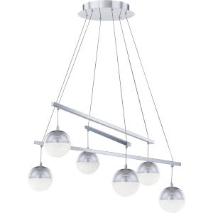 Momentum Polished Chrome Integrated LED One-Light Chandelier with Crystal Chip