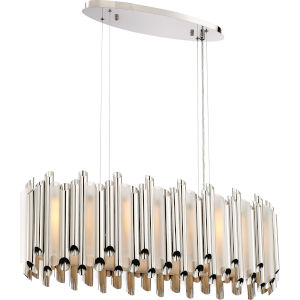 Platinum Collection Pipeline Polished Nickel 32-Inch Eight-Light Island Pendant