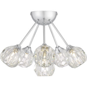 Spellbound Polished Chrome Six-Light Semi-Flush Mount with Crystal Glass