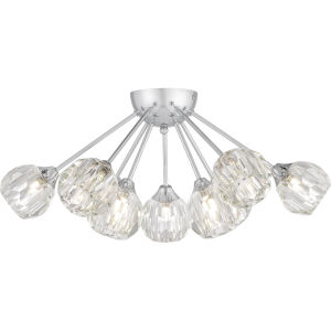 Spellbound Polished Chrome Nine-Light Semi-Flush Mount with Crystal Glass