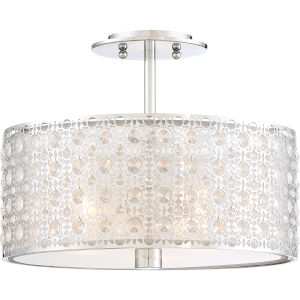 Platinum Collection Verity Polished Chrome Three-Light Semi-Flush Mount