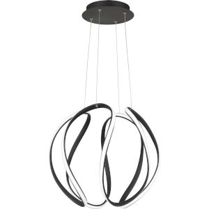 Waving Earth Black 19-Inch LED Pendant