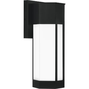 Poe Matte Black 16-Inch Integrated LED One-Light Outdoor Lantern with White Acrylic