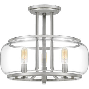 Pruitt Brushed Nickel 14-Inch Three-Light Semi-Flush Mount with Clear Glass