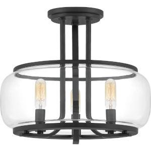 Pruitt Matte Black 14-Inch Three-Light Semi-Flush Mount with Clear Glass