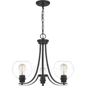 Pruitt Matte Black Dome Shade Three-Light Chandelier with Clear Glass