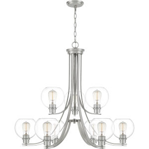 Pruitt Brushed Nickel Dome Shade Nine-Light Chandelier with Clear Glass