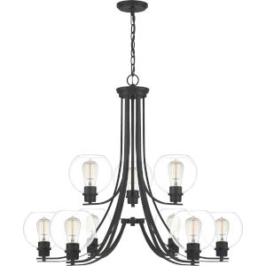 Pruitt Matte Black Dome Shade Nine-Light Chandelier with Clear Glass