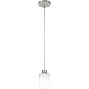 Pruitt Brushed Nickel One-Light Mini Pendant with Opal Glass