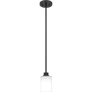 Pruitt Matte Black One-Light Mini Pendant with Opal Glass