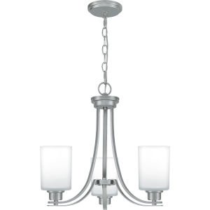 Pruitt Brushed Nickel 22-Inch Three-Light Chandelier with Opal Glass