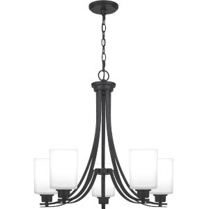 Pruitt Matte Black 27-Inch Five-Light Chandelier with Opal Glass