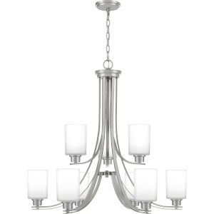 Pruitt Brushed Nickel Nine-Light Chandelier with Opal Glass