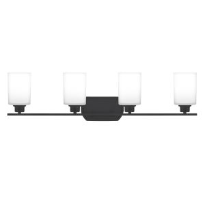 Pruitt Matte Black 34-Inch Four-Light Bath Vanity with Opal Glass