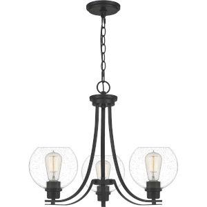 Pruitt Matte Black Three-Light Chandelier with Seedy Glass