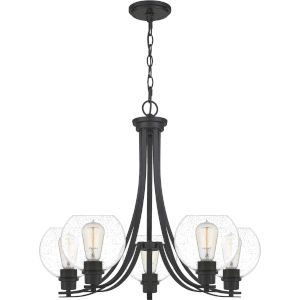 Pruitt Matte Black Dome Shade Five-Light Chandelier with Seedy Glass