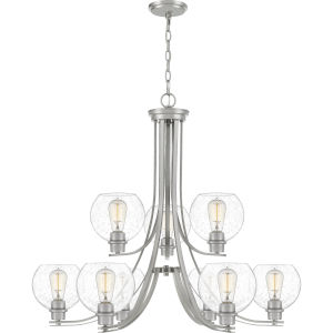 Pruitt Brushed Nickel 34-Inch Nine-Light Chandelier with Seedy Glass
