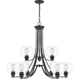 Pruitt Matte Black 34-Inch Nine-Light Chandelier with Seedy Glass