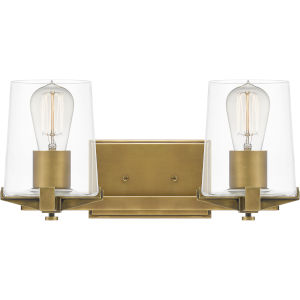 Perry Weathered Brass Two-Light Bath Vanity