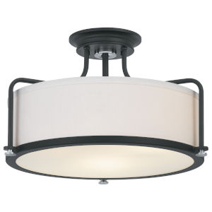 Calvary Earth Black Three-Light Semi-Flush Mount