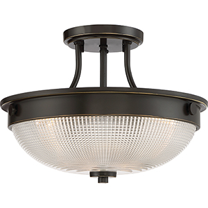 Palladian Bronze Three-Light Semi Flush Mount