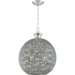 Casablanca Brushed Nickel Three-Light Pendant