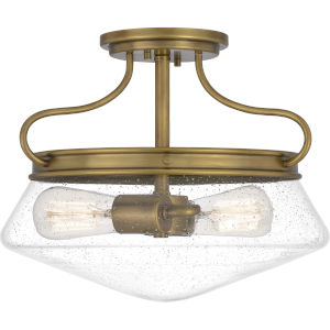 Tucker Weathered Brass Two-Light Semi-Flush Mount with Transparent Seedy Glass