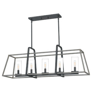 Linear Distressed Iron Five-Light Chandelier