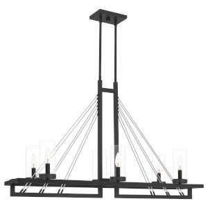 Linear Matte Black Six-Light Chandelier