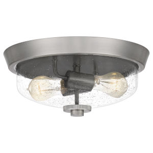 Radius Brushed Nickel 13-Inch Two-Light Flush Mount with Clear Seeded Glass