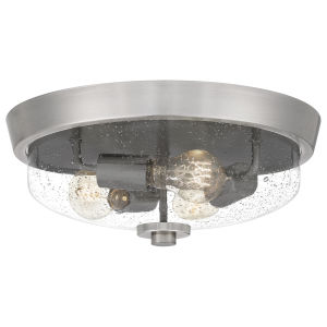Radius Brushed Nickel 15-Inch Three-Light Flush Mount with Clear Seeded Glass