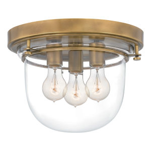 Classic Weathered Brass Three-Light Flush Mount
