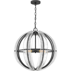Dre Matte Black Four-Light Pendant with Piastra Glass