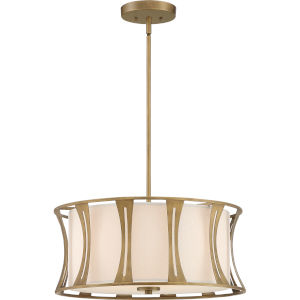 Woodmere Egyptian Gold Four-Light Pendant with Natural Cream Linen Fabric