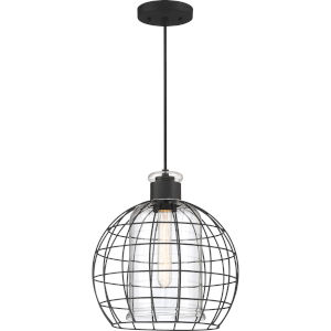 Whitman Matte Black One-Light Mini Pendant with Transparent Glass