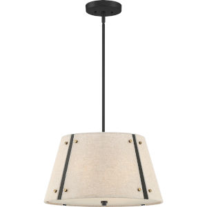 Amherst Mottled Cocoa Three-Light Pendant with Khaki Fabric