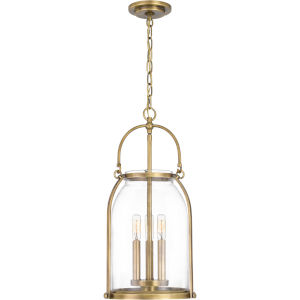 Colonel Weathered Brass Three-Light Mini Pendant with Transparent Glass