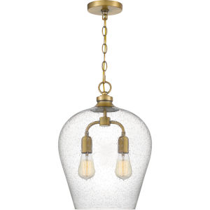 Snowville Weathered Brass Two-Light Pendant