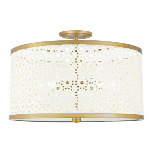 Emmeline Aged Brass Five-Light Semi-Flush Mount