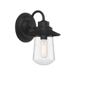 Radford Matte Black Five-Inch One-Light Outdoor Wall Sconce with Seedy Glass