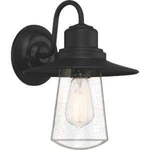 Radford Matte Black 10-Inch One-Light Outdoor Wall Sconce with Seedy Glass