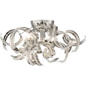 Ribbons Crystal Chrome 18.5-Inch Four-Light Flush Mount