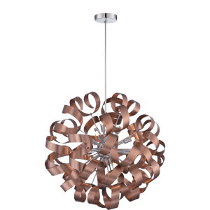 Ribbons Bronze with Gold 23-Inch Height Twelve-Light Interior Pendant