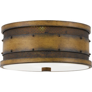 Roadhouse Aged Walnut Three-Light Flush Mount
