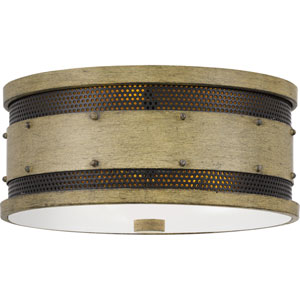 Roadhouse Natural Walnut Three-Light Flush Mount