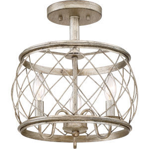 Dury Earth Black Three-Light Semi Flush Mount
