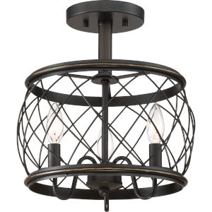Dury Palladian Bronze Three-Light Semi Flush Mount