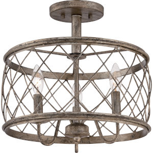 Dury Century Silver Leaf Three Light Semi-Flush Mount