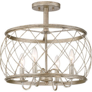 Dury Century Silver Leaf Four-Light Semi Flush Mount