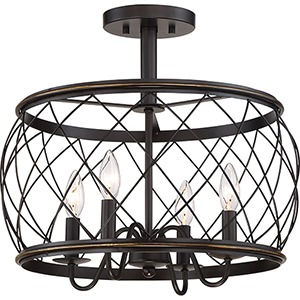 Dury Palladian Bronze Four-Light Semi Flush Mount